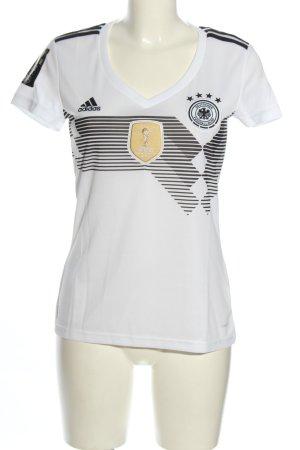 Adidas Koszulka sportowa biały-czarny Wydrukowane logo Sportowy styl