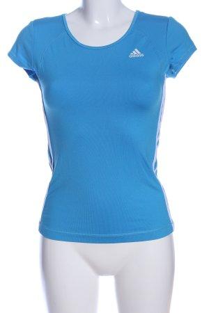 Adidas Sportshirt blau-weiß Motivdruck Casual-Look
