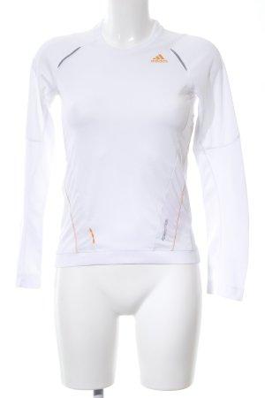 Adidas Koszulka sportowa biały-jasny pomarańczowy Nadruk z motywem