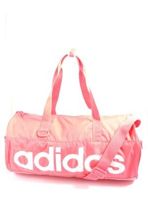 Adidas Bolsa de gimnasio rosa-blanco letras impresas look casual