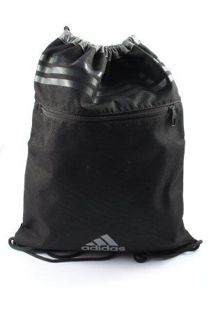 Adidas Bolsa de gimnasio negro-blanco letras impresas estilo deportivo