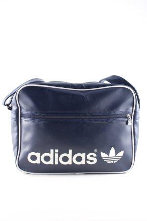 Adidas Bolsa de gimnasio azul-blanco letras impresas look casual