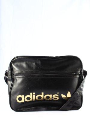 Adidas Sac de sport noir-doré lettrage imprimé style décontracté