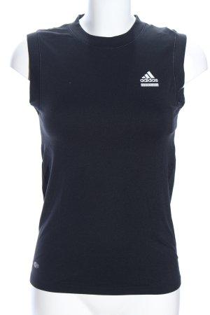 Adidas Sporttop schwarz-weiß Schriftzug gedruckt Casual-Look