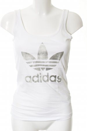 Adidas Sporttop weiß Schriftzug gedruckt sportlicher Stil