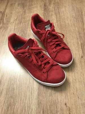 adidas stan smith Lace-Up Sneaker brick red suede