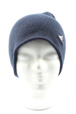 Adidas Sombrero de tela azul-blanco letras impresas look casual
