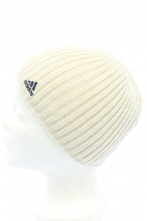 Adidas Knitted Hat natural white embroidered lettering casual look