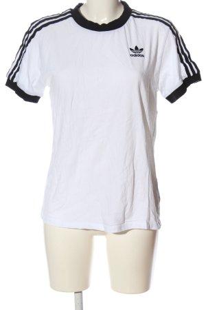Adidas T-shirts en mailles tricotées blanc-noir lettrage brodé