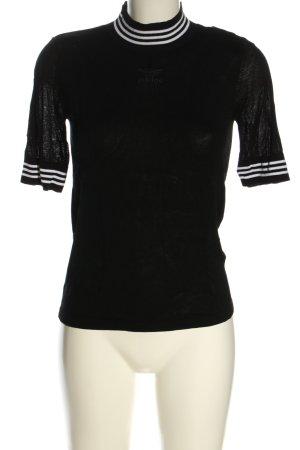 Adidas Gebreid shirt zwart-wit gestreept patroon casual uitstraling