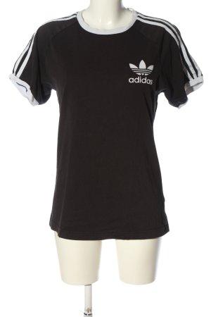 Adidas Strickshirt schwarz-weiß Motivdruck Casual-Look