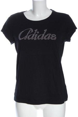 Adidas T-shirts en mailles tricotées noir-argenté lettrage imprimé