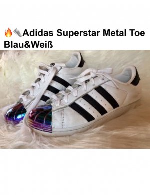 Adidas Superstar Damen original Metal Toe Blau/Weiß (Gr.39 1/3)