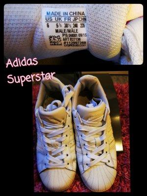 Adidas Superstar ♥ weiß, oft getragen, neue Schnürsenkel Gr. 38 2/3