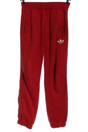 Adidas Spodnie dresowe czerwony-biały Wyhaftowany logo Prosty styl