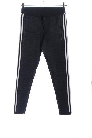 Adidas Pantalone fitness nero-bianco motivo a righe stile semplice