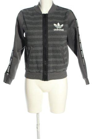 Adidas Sweatjack lichtgrijs-zwart gedrukte letters casual uitstraling