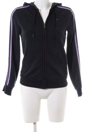 Adidas Sweatjacke schwarz-lila Streifenmuster Casual-Look