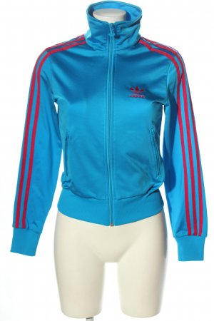 Adidas Sweatjacke blau-rot Motivdruck Casual-Look