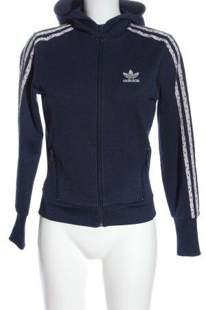 Adidas Sweatjacke blau Schriftzug gestickt Casual-Look