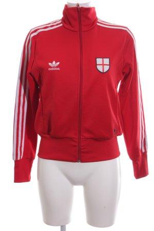 Adidas Sweatjacke rot-weiß Schriftzug gedruckt schlichter Stil