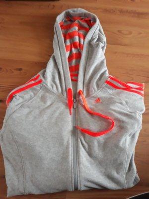 Adidas Chaqueta de tela de sudadera gris claro-naranja neón