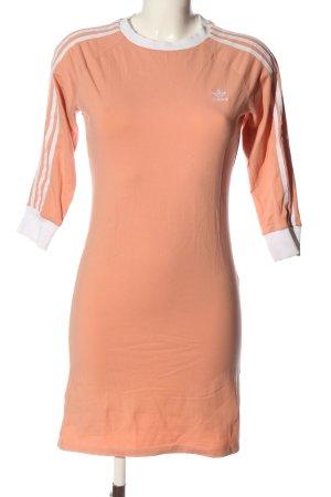 Adidas Vestido de tela de sudadera nude letras bordadas look casual
