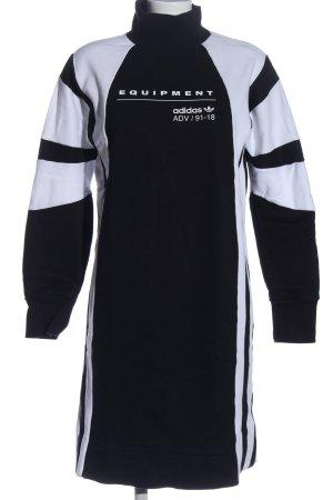 Adidas Sukienka dresowa czarny-biały Nadruk z motywem W stylu casual