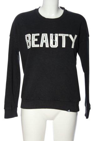 Adidas Bluza dresowa czarny-biały Wydrukowane logo W stylu casual