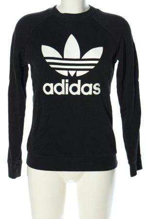 Adidas Sweatshirt schwarz-weiß Motivdruck Casual-Look