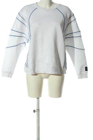 Adidas Felpa bianco-blu motivo a righe stile casual