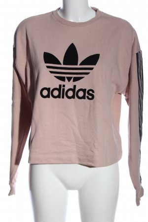 Adidas Sweatshirt creme-schwarz Schriftzug gedruckt Casual-Look