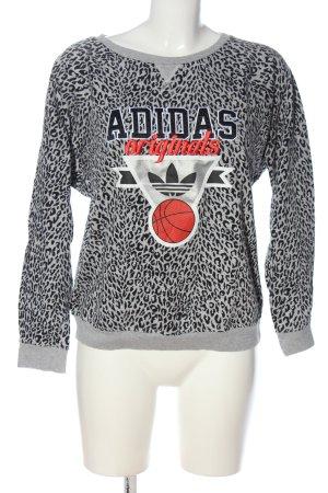Adidas Sweatshirt hellgrau-schwarz Allover-Druck Casual-Look
