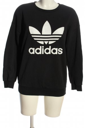 Adidas Sweatshirt noir-blanc imprimé avec thème style décontracté