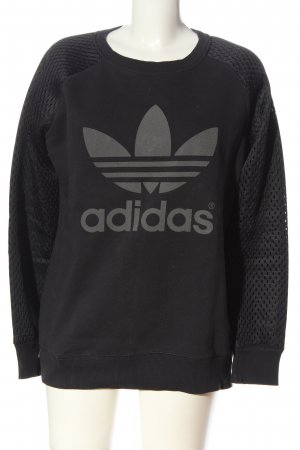 Adidas Sweatshirt schwarz-hellgrau meliert Casual-Look