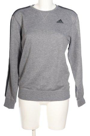 Adidas Sweatshirt hellgrau-schwarz Schriftzug gedruckt Casual-Look
