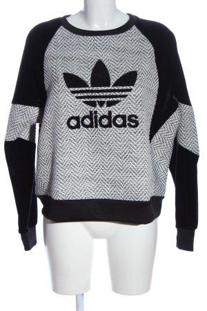 Adidas Sweatshirt schwarz-hellgrau Motivdruck Casual-Look