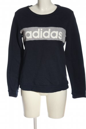 Adidas Sweatshirt blau-hellgrau Schriftzug gedruckt Casual-Look
