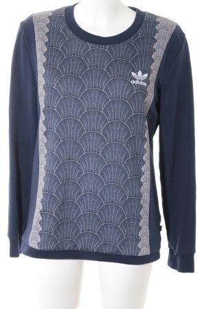 Adidas Sweatshirt dunkelblau-beige abstraktes Muster Casual-Look