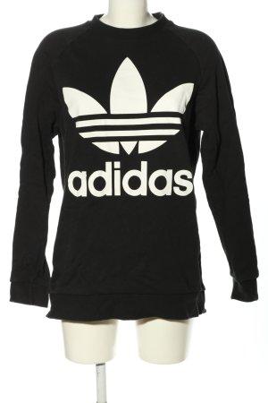 Adidas Bluza dresowa czarny-biały Nadruk z motywem W stylu casual
