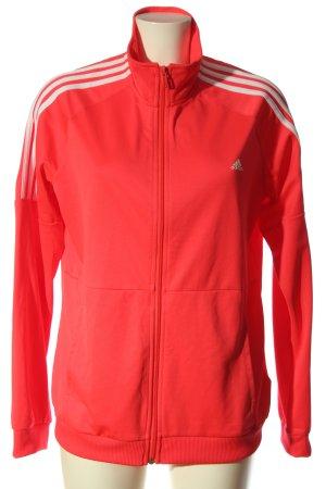 Adidas Veste chemisier rouge-crème lettrage imprimé style décontracté