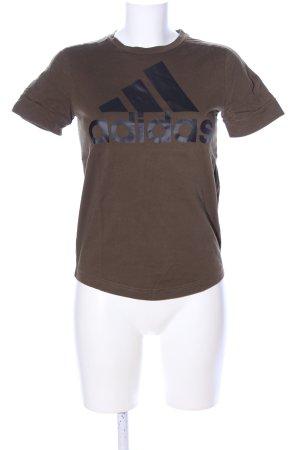 Adidas T-Shirt braun-schwarz Motivdruck Casual-Look
