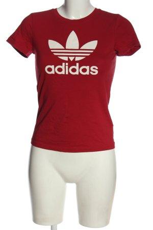 Adidas T-shirt czerwony-biały Nadruk z motywem W stylu casual