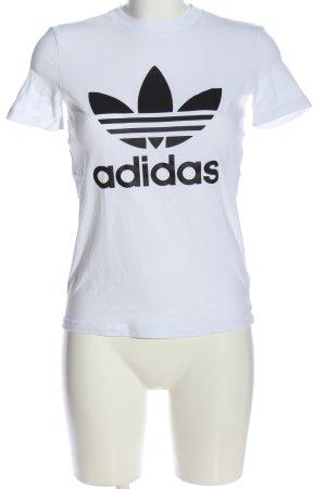 Adidas T-shirt blanc-noir imprimé avec thème style décontracté