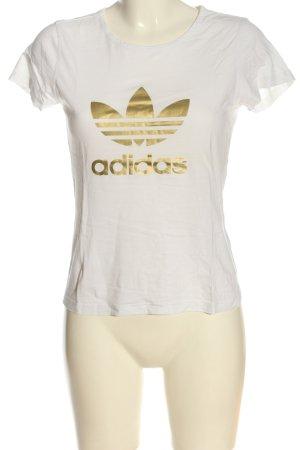Adidas T-shirt wit-goud prints met een thema casual uitstraling
