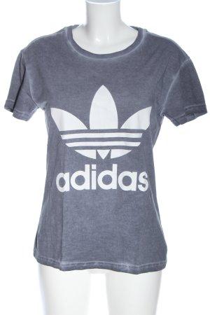 Adidas T-Shirt blau-weiß Schriftzug gedruckt Casual-Look