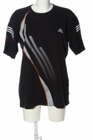 Adidas T-Shirt schwarz-hellgrau Motivdruck Casual-Look