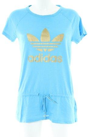 Adidas T-Shirt blau-goldfarben Schriftzug gedruckt Casual-Look