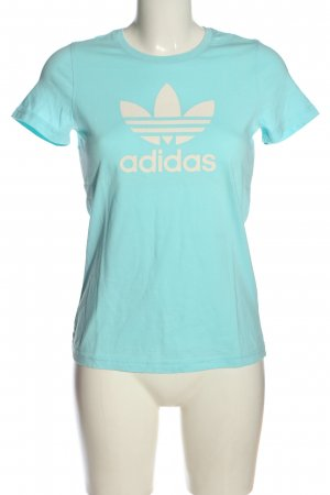Adidas T-shirt turchese caratteri stampati stile casual