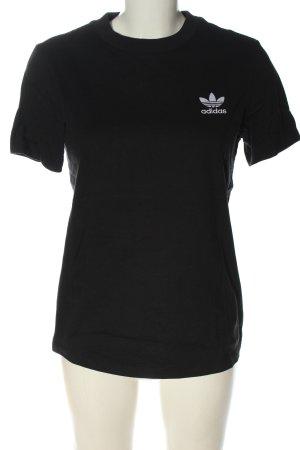 Adidas T-shirt noir-blanc lettrage imprimé style décontracté